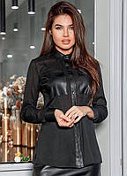 Блузка женская чёрная с вставками из эко кожи, фото 1