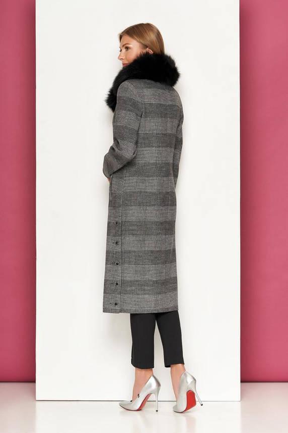 Женское зимнее кашемировое пальто с мехом в клетку, фото 2