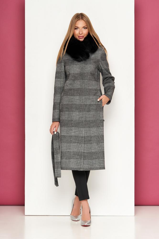 Женское зимнее кашемировое пальто с мехом в клетку