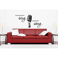 Самоклеящаяся комнатная наклейка стикер для оформления и декора Red Sing song 96х45 см Черная
