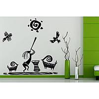 Креативная наклейка рисунок на стену и обои для декора дома Red Ethno composition 55х96 см Черная(39185-46)
