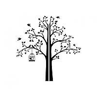 Интерьерная наклейка Red Tree with a cage, corner 190х195 см Черная