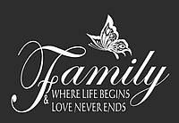 Интерьерная виниловая наклейка на стену Red Family love 120х75 см Белая