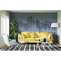 Креативная наклейка рисунок на стену и обои для декора дома Red Mosaic city 200х85 см Черная