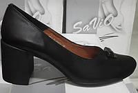 Туфли женские на удобном каблуке из натуральной кожи чёрного цвета от производителя модель СД-Т49Р
