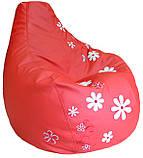 М'яке Крісло, пуф sportkreslo з вишивкою Ромашка Екокожа розмір XL 110*130см червоний, фото 4