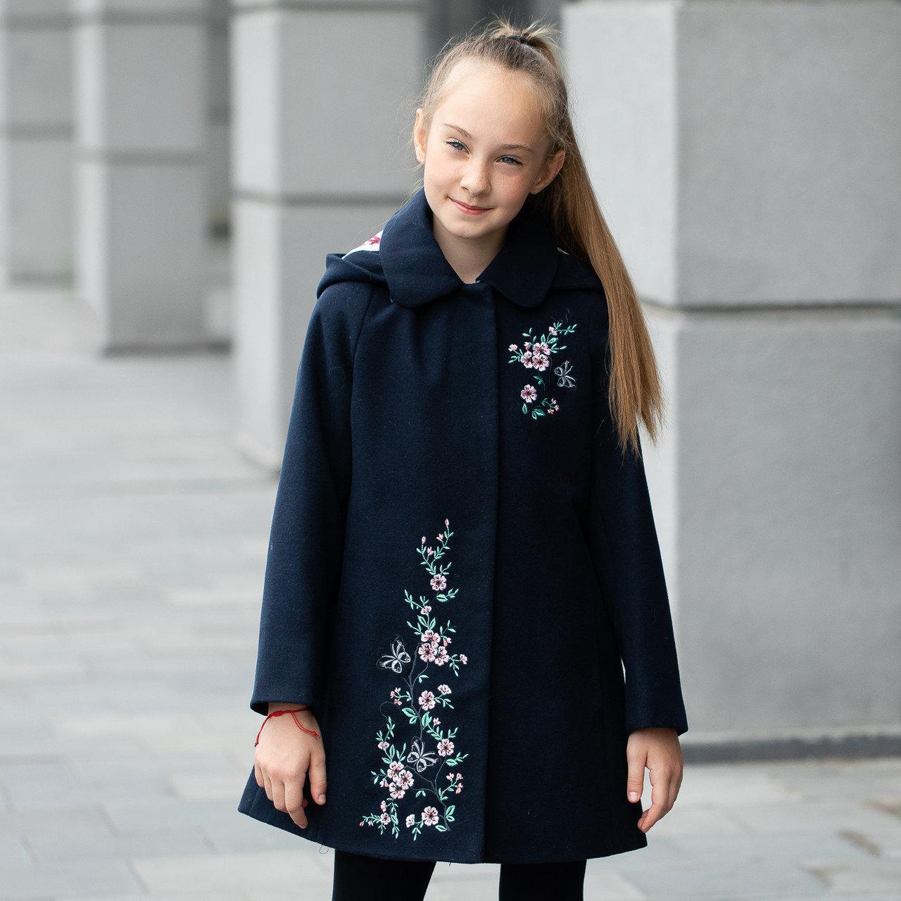 Элегантное кашемировое пальто с капюшоном для девочки «Сакура-1» 122-146 см