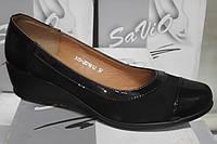 Туфли женские на удобной танкетке из натуральной замши и кожи от производителя модель СД-Т20Рзамша