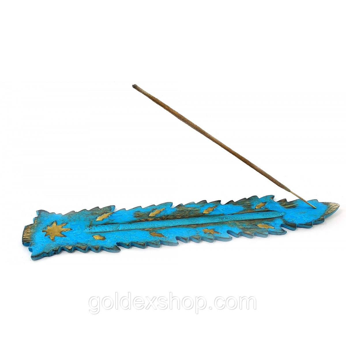 """Подставка под аромапалочки """"Лист"""" синяя (26х4х0,5 см)"""