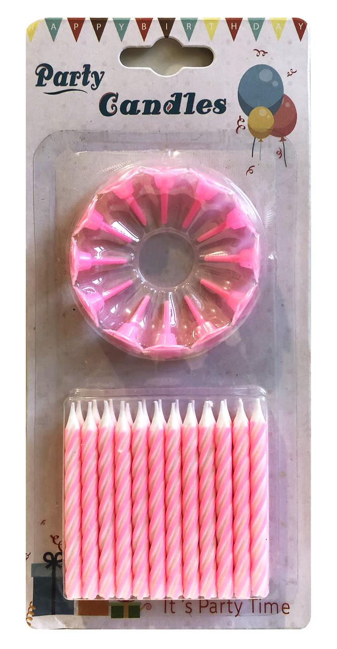Свечи для торта розовые (24 свечей+12 подставок)