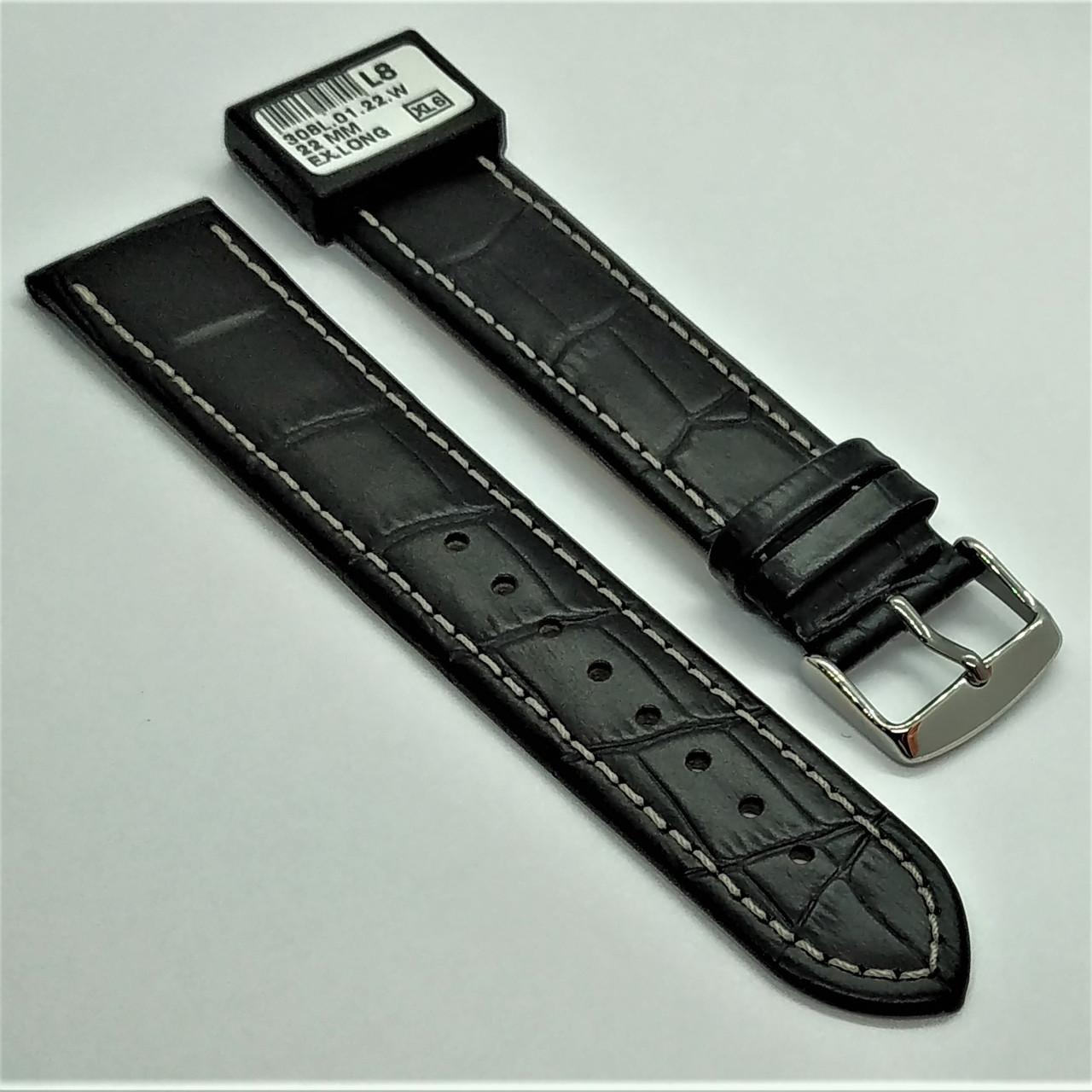 22 мм Кожаный Ремешок для часов CONDOR 308L.22.01 Черный Ремешок на часы из Натуральной кожи удлиненный