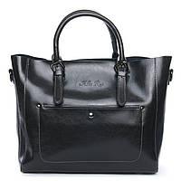Женская сумка из натуральной кожи серого цвета классика, фото 1