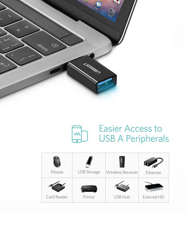 OTG адаптер Ugreen Тип-C к USB3.0 US173 30155 (Белый) перечень устройств которые можно подключить