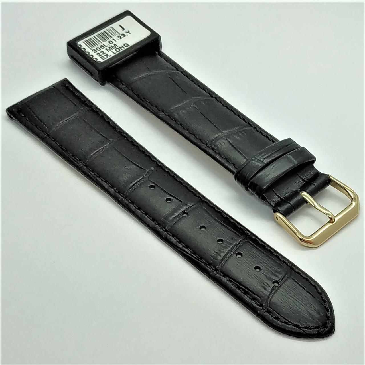22 мм Кожаный Ремешок для часов CONDOR 305L.22.01 Черный Ремешок на часы из Натуральной кожи удлиненный