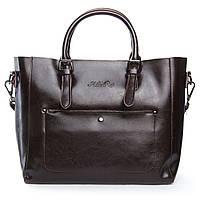 Женская сумка из натуральной кожи коричневого цвета классика, фото 1
