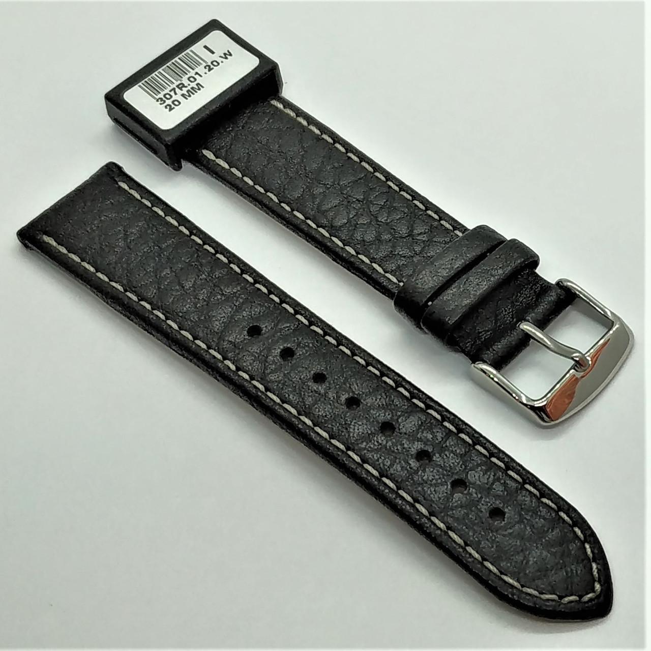 20 мм Кожаный Ремешок для часов CONDOR 307.20.01 Черный Ремешок на часы из Натуральной кожи