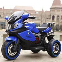Детский электромобиль Мотоцикл M 3680 L-4, BMW, кожаное сиденье, свет колес, синий