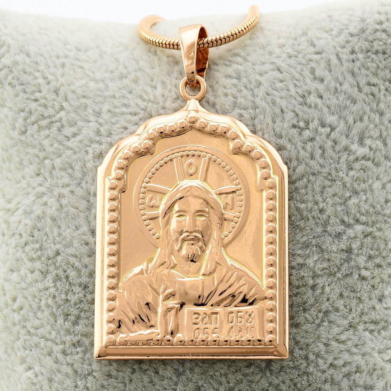 """Ладанка, иконка Xuping Jewelry """"Лик Иисуса"""" медицинское золото, позолота 18К. А/В 3973"""