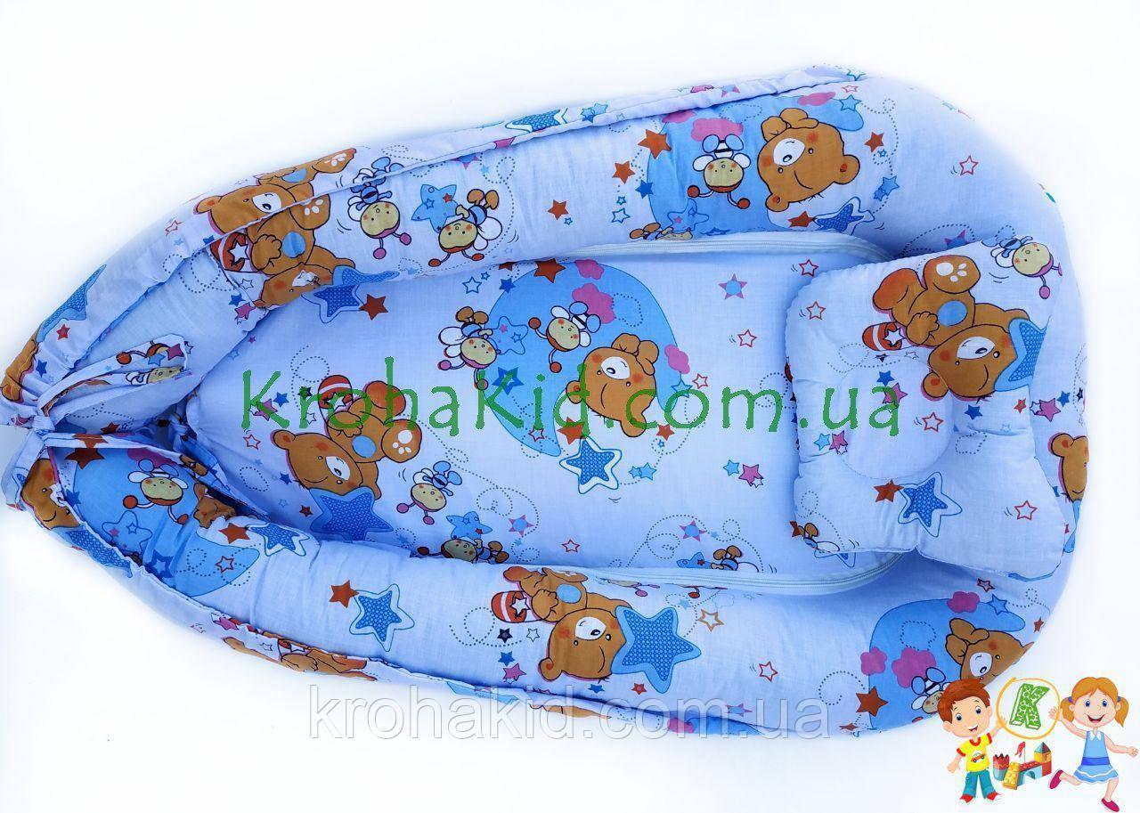 """Дитячий кокон / гніздечко / позиціонер """"Ведмедики"""" для новонароджених з ортопедичною подушкою"""