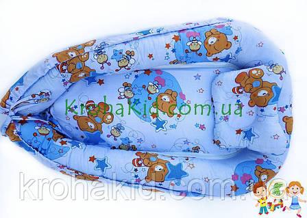 """Дитячий кокон / гніздечко / позиціонер """"Ведмедики"""" для новонароджених з ортопедичною подушкою, фото 2"""