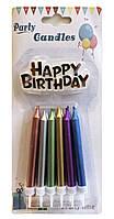 Свечи для торта хром ассорти с надписью Happy Birthday