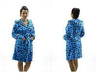 Банные женские халаты с выбитым принтом Леопард ( Размер M 44-46)