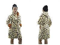 """Махровые женские халаты на молнии """"Леопард"""" разные расцветки"""