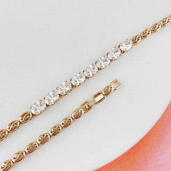 "Браслет Xuping Jewelry 17/19 см ""Бьянка"" белые камни медицинское золото, позолота 18К. А/В 3982"
