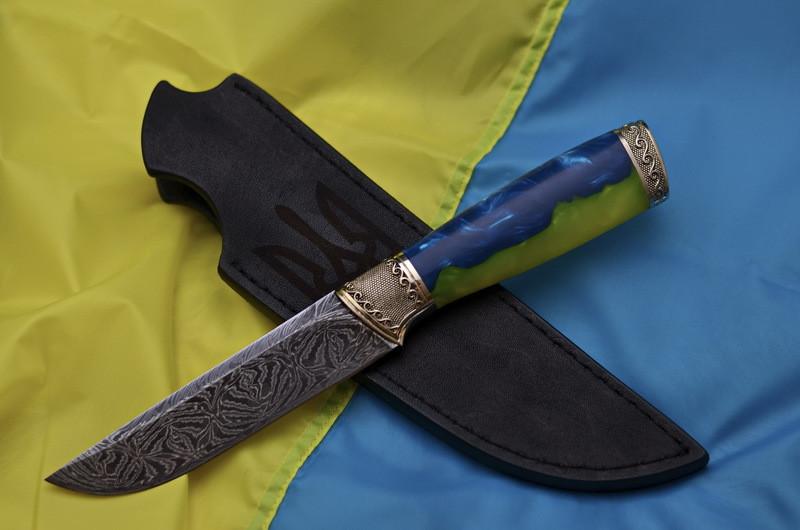 """Коллекционный нож ручной работы """"Воин света"""", мозаичный дамаск"""