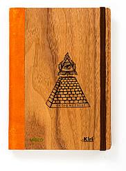 """Эко Записная книжка с черными листами А5 """"Пирамида"""", деревянный в книжном переплете + белая ручка, 96 л"""