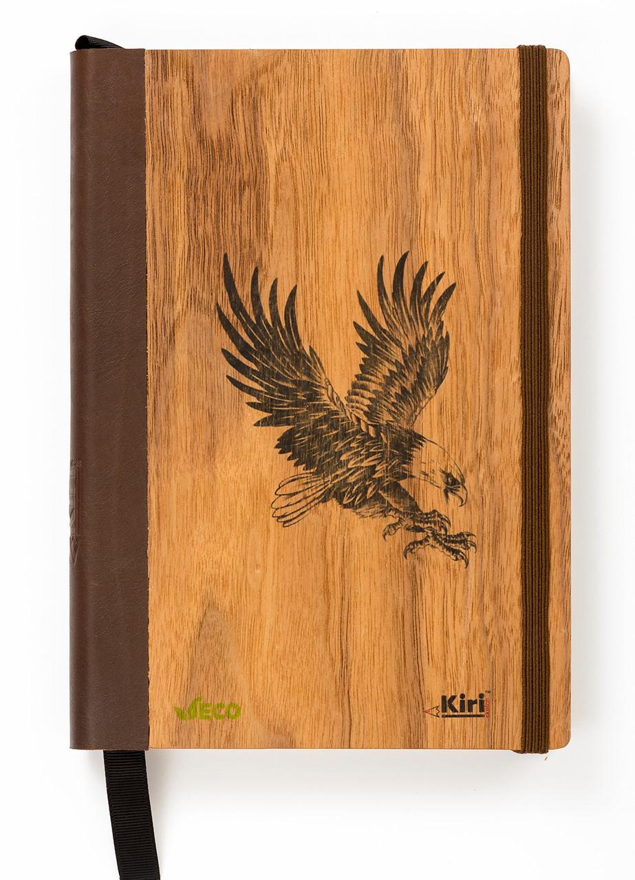 """Эко Записная книжка с черными листами А5 """"Орел"""", деревянный в книжном переплете + белая ручка, 96 л"""