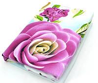 """Двуспальные комплекты фланель """"цветы на голубом"""" (5D)"""