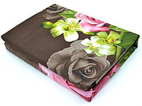 """Двуспальные комплекты постельного белья """"роза на шоколадном"""" (5D)"""