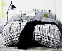 """Комплекты постельного белья  Евро сатин """"клетка на белом"""", фото 1"""