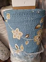 """Ткань Жатка в рулоне """"Бежевые цветы на голубом"""", фото 1"""