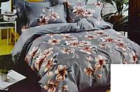 """Постільний комплект двоспальний Сатин """"Квіти на сірому"""", фото 1"""
