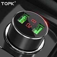 Автомобильное зарядное TOPK G209 c Вольтметром и Амперметром