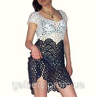 Вязаное крючком летнее платье из ленточного кружева ручной работы