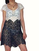 Вязаное платье из ленточного кружева ручной работы