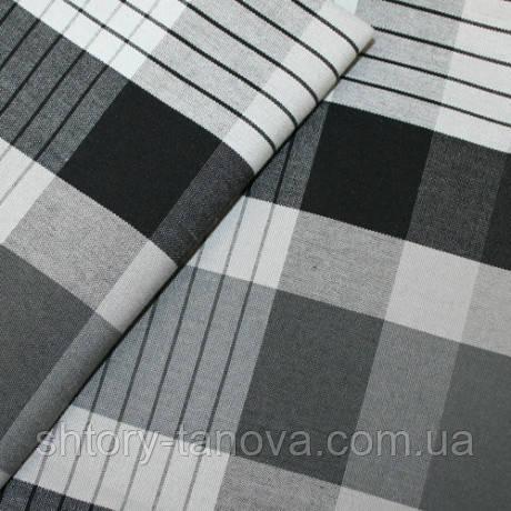 Уличная ткань для штор беседок, веранд террас с покрытием дралон клетка черно-серый тефлон