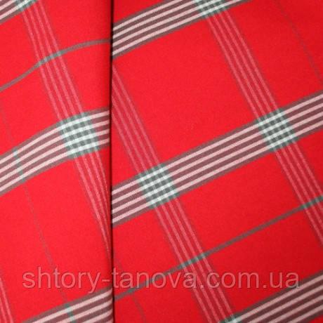 Уличная ткань с пропиткой для садовой мебели Дралон клетка красно-серый тефлон
