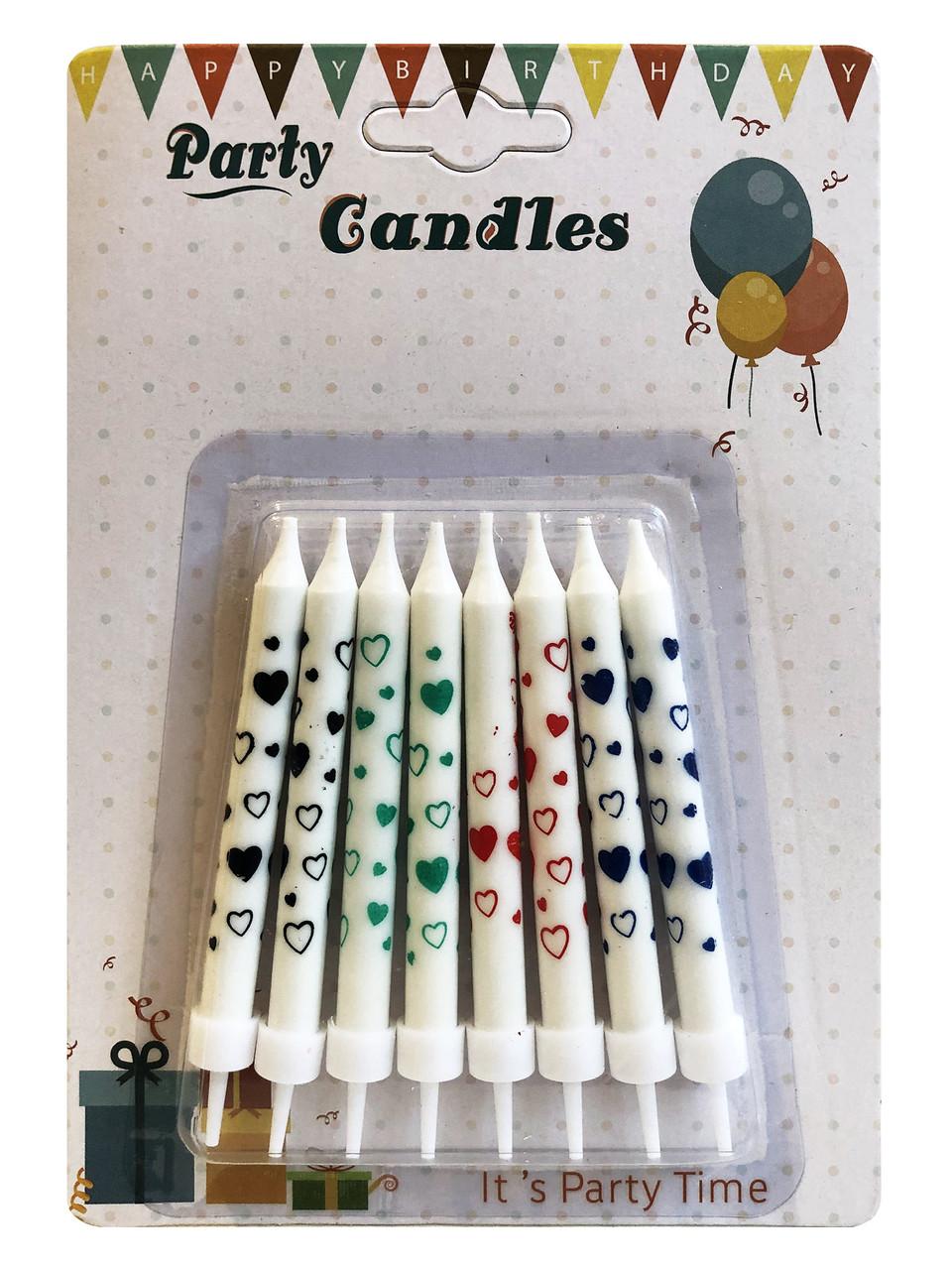 Свечи для торта, расписанные сердечками, 8 штук