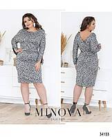 Платье с V-образным вырезом сзади №1499-1-черно-белый, фото 1