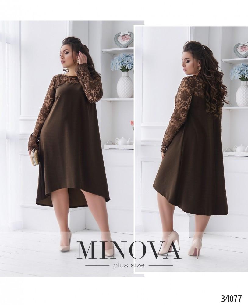Платье А-силуэта №15142-шоколадный