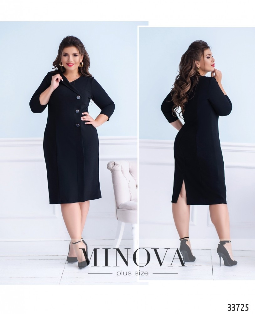 Платье прямого кроя №457-1-черный