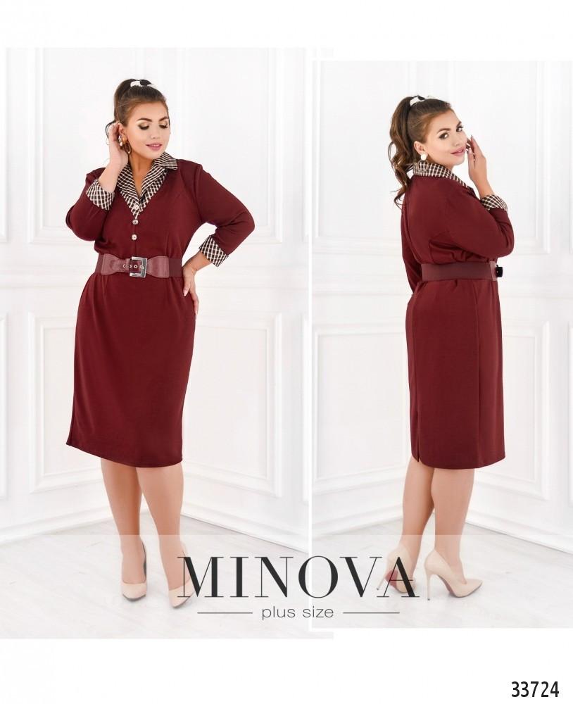 Платье прямого кроя №8-173-бордо