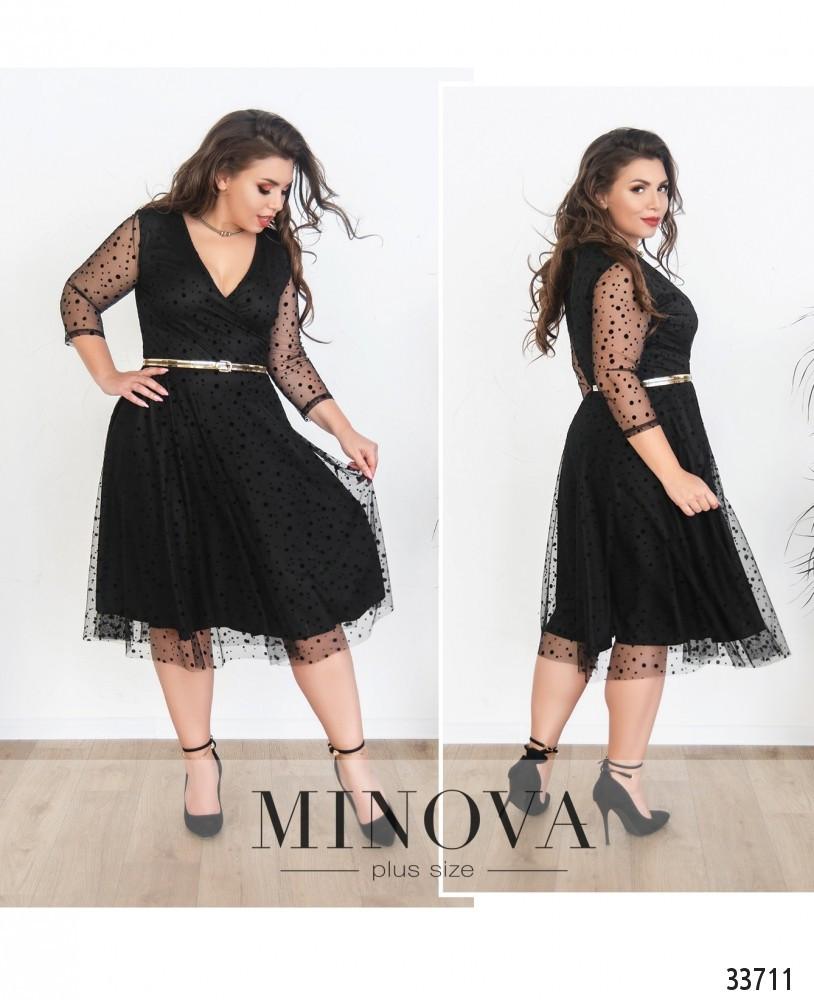 Платье двуслойное на запАх №286-черный
