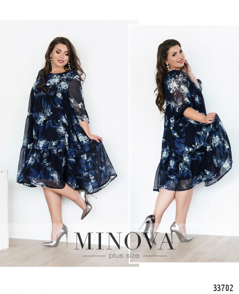 Платье украшено цветочным принтом №8614-1-синий