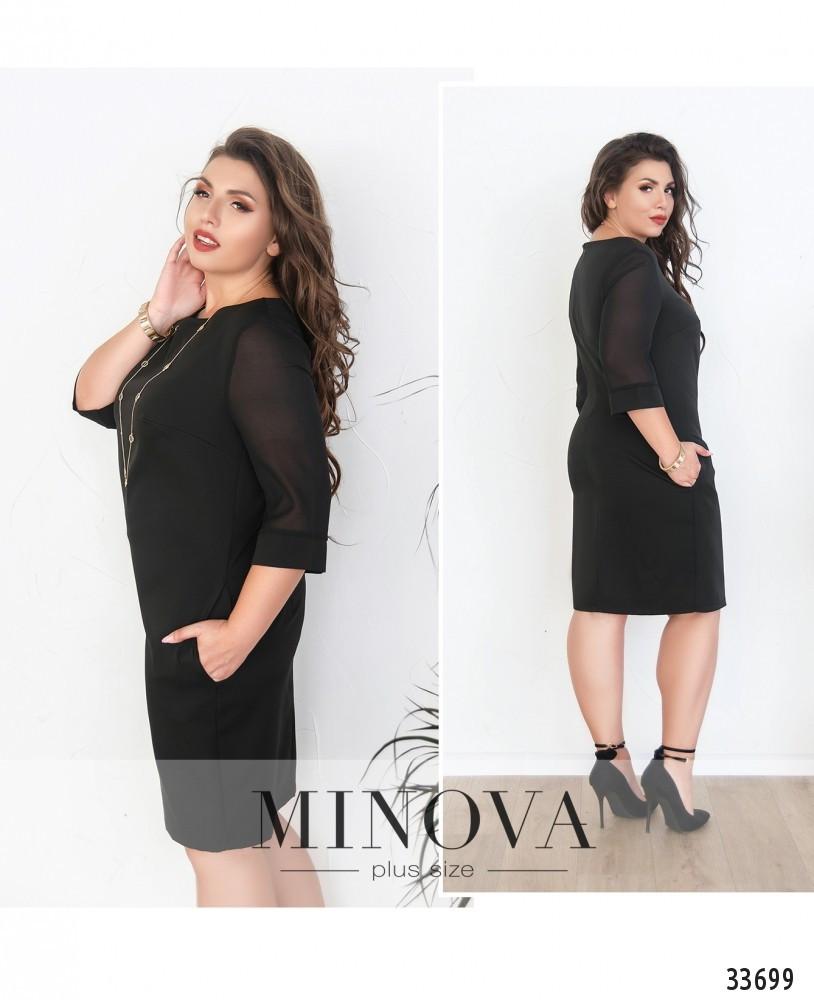 Платье свободного кроя с карманами №8615-черный