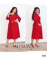 Платье с V-образным вырезом горловины №1711-красный, фото 1
